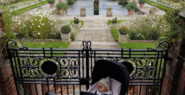 London with a baby Princess DIana memorial Gardens